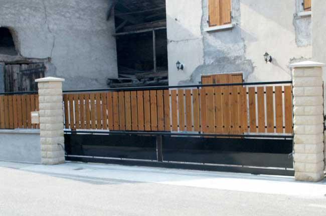 Portail acier bois plastifié beaucroissant